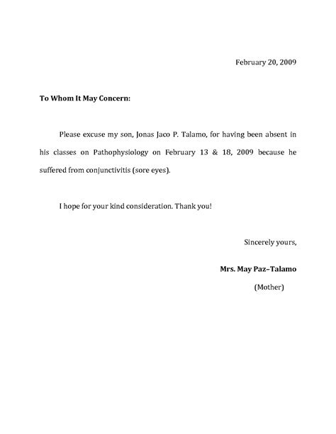 excuse letter for school format of excuse letter for being absent best template 44353