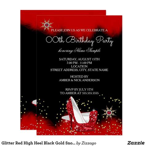 glitter red high heel black gold snowflake party
