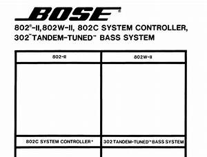 Bose 302 Tandem Tuned Bass System 802 Ii 802w Ii Speakers