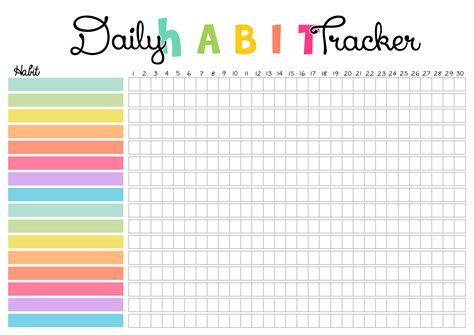 habit tracker free colorful print daily habit tracker colorful zone