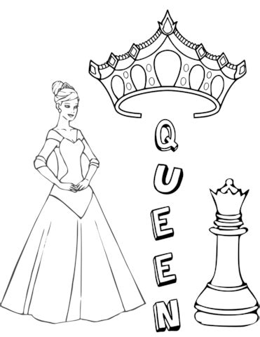 queen chess piece coloring page  printable coloring