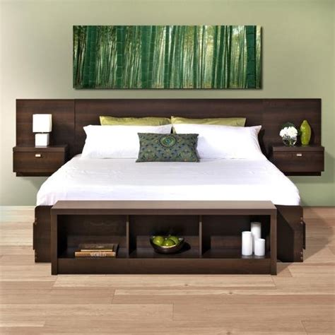 modern espresso floating king headboard  nightstands