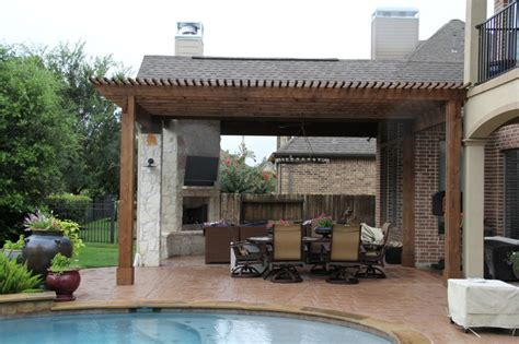 outdoor living project patio cover with fireplace