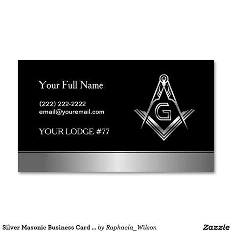 Silver Masonic Business Card Template Freemason Custom