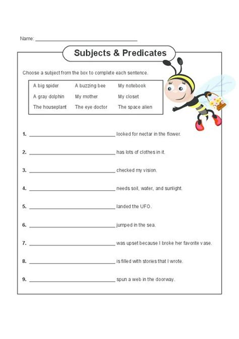 subject and predicate matching worksheet subject and predicate practice free printable worksheets