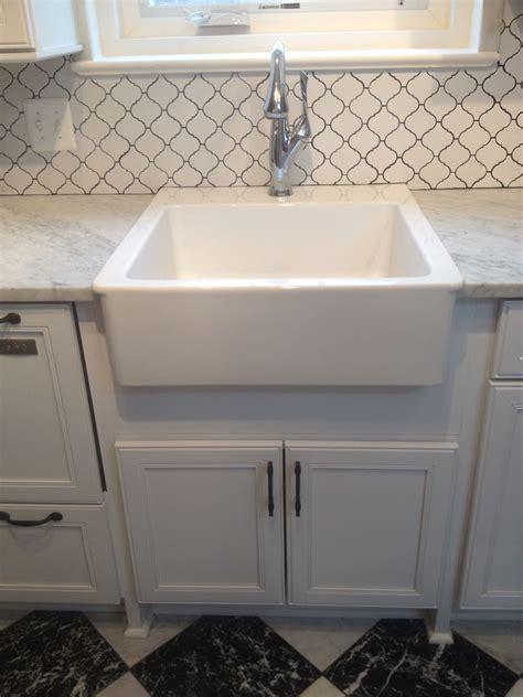 finished ikea farmhouse sink  brizo faucet kitchen