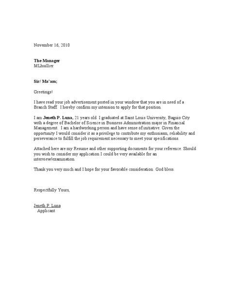 cover letter sample  fresh graduate  business