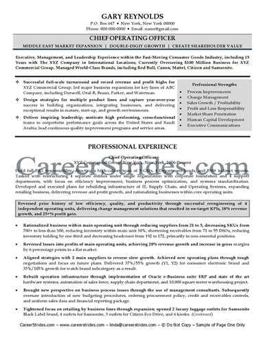 Chief Operating Officer Resume Pdf by Coo Resume Sle Jennywashere