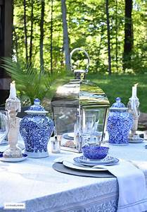 Lighting On A Budget Outdoor Summer Tablescape In Blue And White