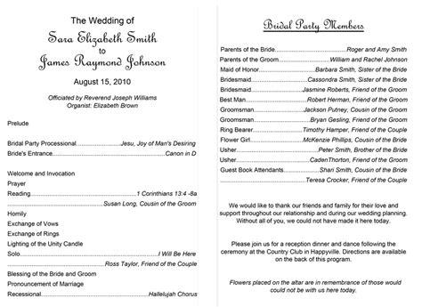 exles of wedding programs templates 37 printable wedding program exles templates template lab