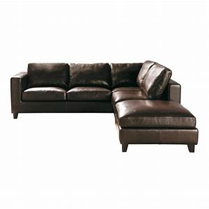 5 seater split leather corner sofa bed in brown kennedy With canape cuir angle marron