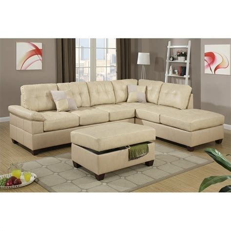 Poundex Reversible Sectional Sofa by Poundex Bobkona Randel 2 Reversible Sectional Sofa