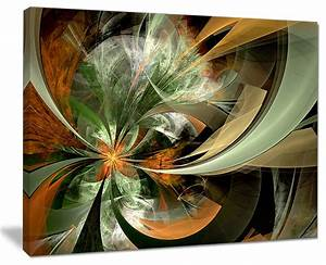 Quot symmetrical orange green fractal flower modern canvas
