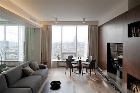 A Simple, Modern Apartment In Moscow : Modern Apartment In Moscow With An Ingenious Glass Wall