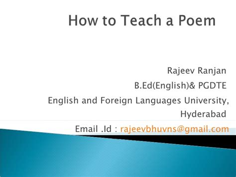 How To Teach A Poem