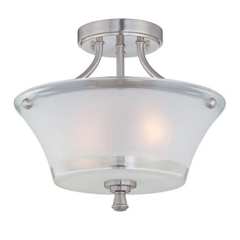 ls plus flush mount lights illumine 2 light steel semi flush mount light with frost