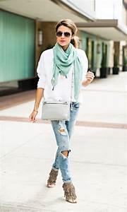 Distressed denim    fringe heels    Grey crossbody bag    tassel scarf   Hello Fashion Blog ...