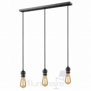 Suspension Ampoule Vintage : suspension oros noir mat barre 3 lumi res sans ampoule e27 market set ~ Dode.kayakingforconservation.com Idées de Décoration