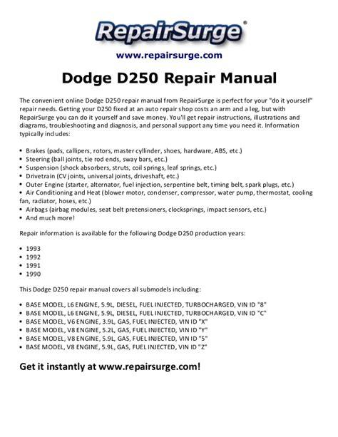 service manual car engine manuals 1993 dodge d250 auto manual service manual 1992 dodge d250 dodge d250 repair manual 1990 1993