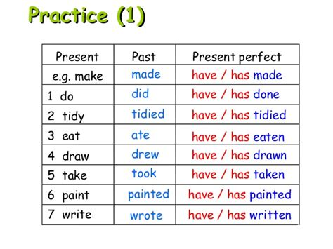 past form of tidy present perfect past simple