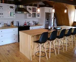 Ilot Cuisine Bois : armoire de cuisine blanche lot live edge cuisine ~ Teatrodelosmanantiales.com Idées de Décoration
