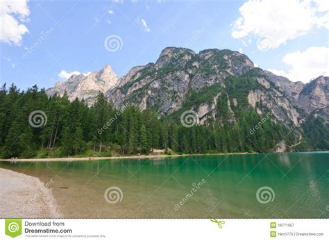 Lake Braies Dolomites Italy Royalty Free Stock