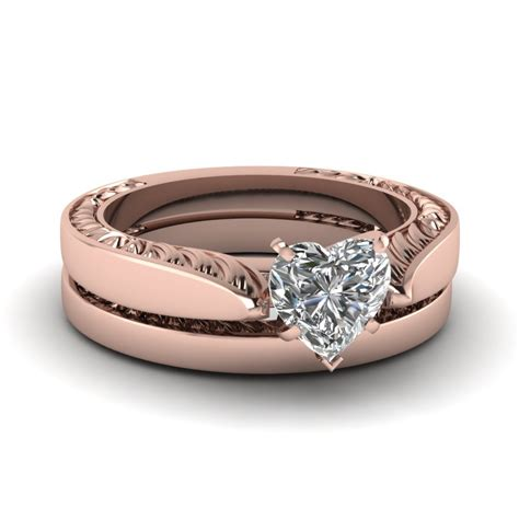 heart shaped cubic zirconia recurred flake wedding ring 14k rose gold fn cz moissanite