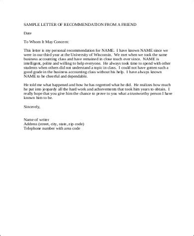 letter of recommendation for a friend 5 sle letters of recommendation for a friend pdf