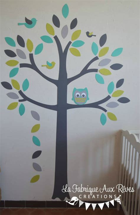 arbre déco chambre bébé stickers arbre turquoise vert anisle gris hibou oiseaux