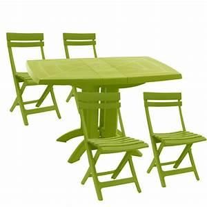 table salon de jardin vert idees decoration interieure With table et chaise blanc