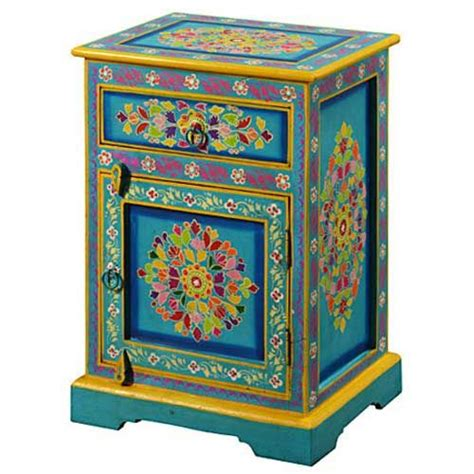 indian painted turquoise cabinet painted furniture