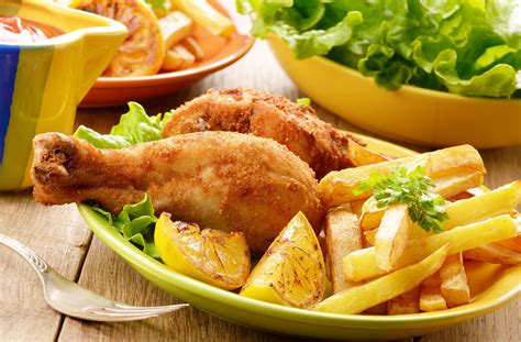 food meal chicken fries salad vegetables delicious