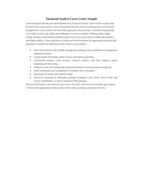 financial data analyst cover letter samples  templates