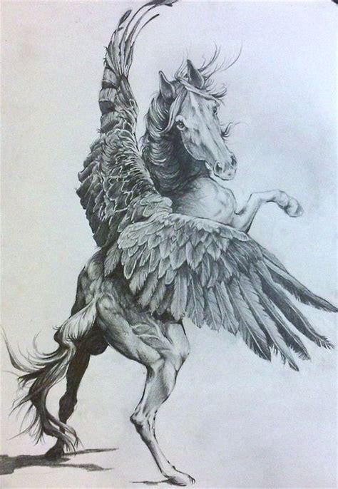 luxury large grey pegasus  open wings tattoo design