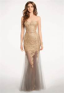 lace mesh dress with metallic appliques from camille la With group usa wedding dress