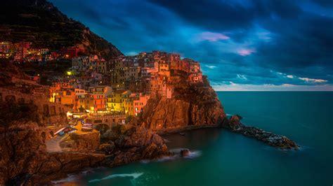 Fonds D'écran Italie, Manarola, Cinque Terre, Mer, Nuit