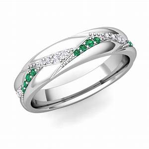 wave wedding band in 18k gold diamond and emerald ring my love With emerald wedding band rings