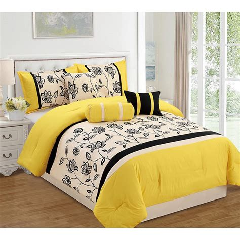 Yellow King Size Comforter Set 12 Piece In Gray White