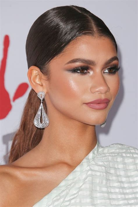 Carpet Ponytail Hairstyles by Zendaya Medium Brown Low Ponytail Ponytail