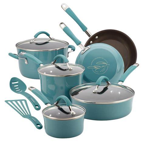 pc rachel ray cookware set nonstick blue pots