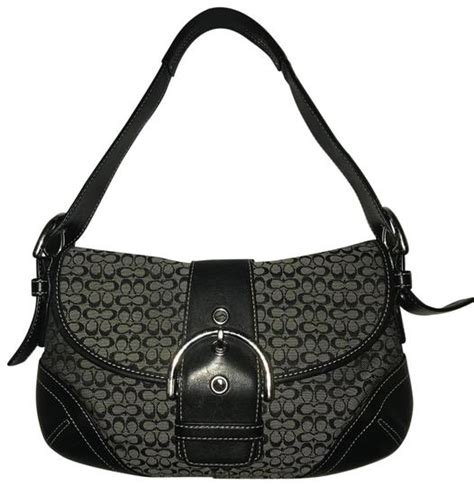 coach saddle jacquard signature canvas  blackgray monogram leather shoulder bag tradesy