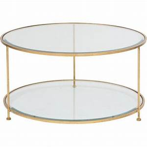Round two tiered gold legs glass coffee table for Glass coffee table with gold legs