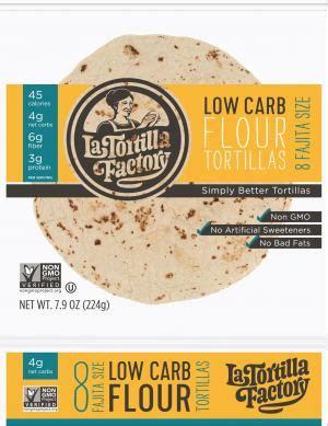 gmo  carb tortillas flour fajita size la
