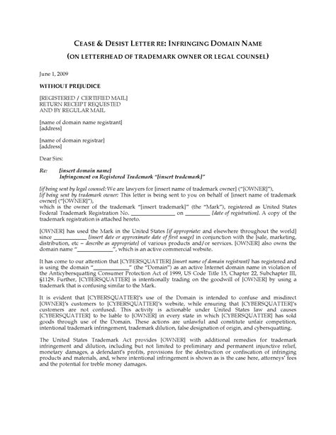 usa cease  desist letter  infringing domain