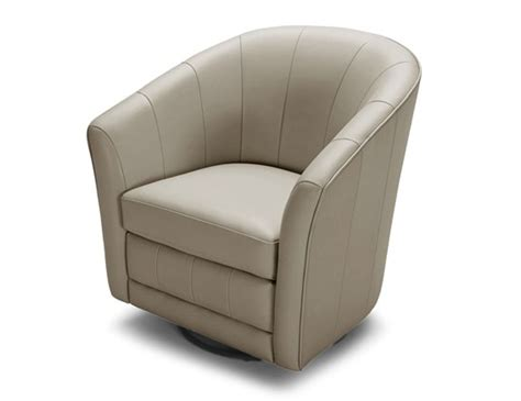 Light Gray Leather Swivel Base Accent Chair Seattle