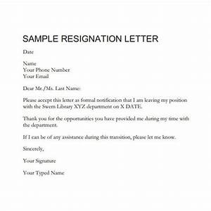 Well Formal Resignation Letter Example – Letter Format Writing
