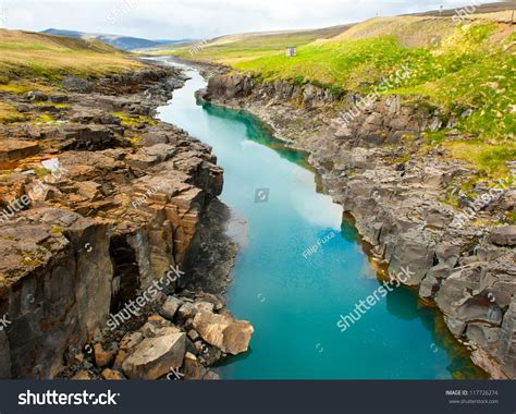 Beautiful Turquoise Glacial River Canyon Iceland Stock