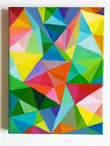 Abstract ORIGINAL ACRYLIC Painting / Colored Triangles / blue
