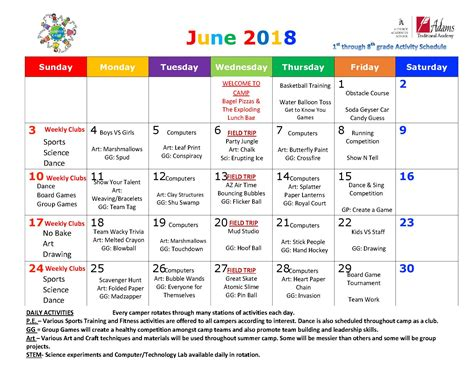 summer camp schedule for june traditional academy 197 | Summer Camp 1st 8th June 2018 calendar