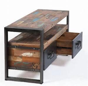 Meuble Tv Fer : meuble bas t l vision fer bois 2 tiroirs ~ Teatrodelosmanantiales.com Idées de Décoration